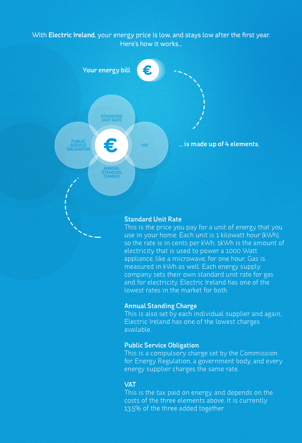 With Electric Ireland your energy bill is made up of four elements