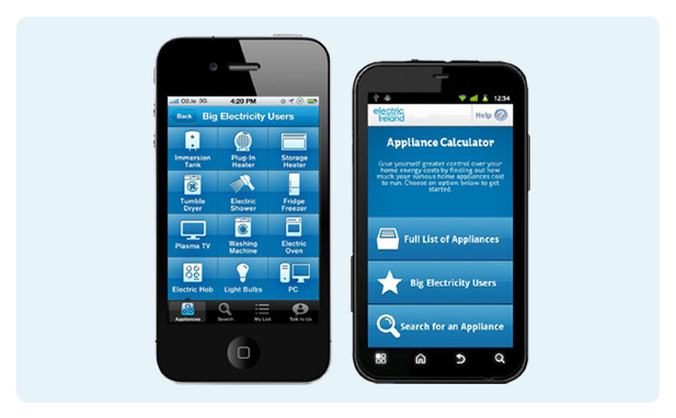 Electric Irleland Appliance Calculator on iPhone and Android smartphones