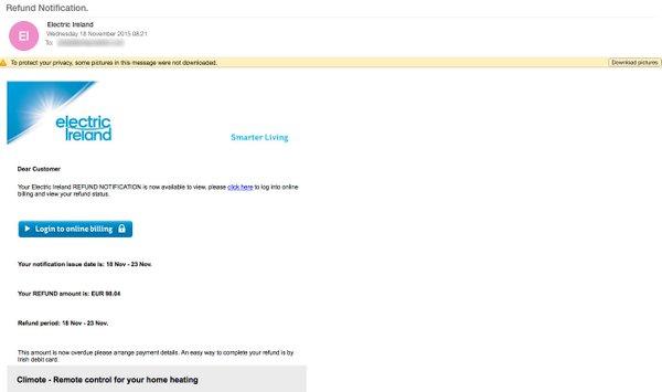 Fraudulent Email Warning | Electric Ireland Business