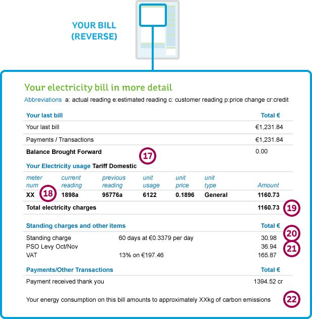 Reverse of an Electric Ireland Business Electricity Bill