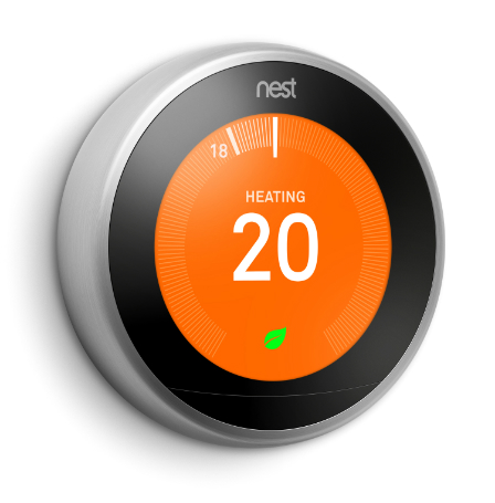 A Nest Learning Thermostat illustrating the Nest Leaf feature
